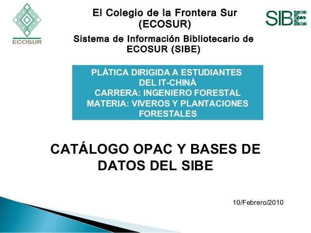 El Colegio de la Frontera Sur (ECOSUR) Sistema de Información Bibliotecario de ECOSUR (SIBE) PLÁTICA DIRIGIDA A ESTUDIANTE...