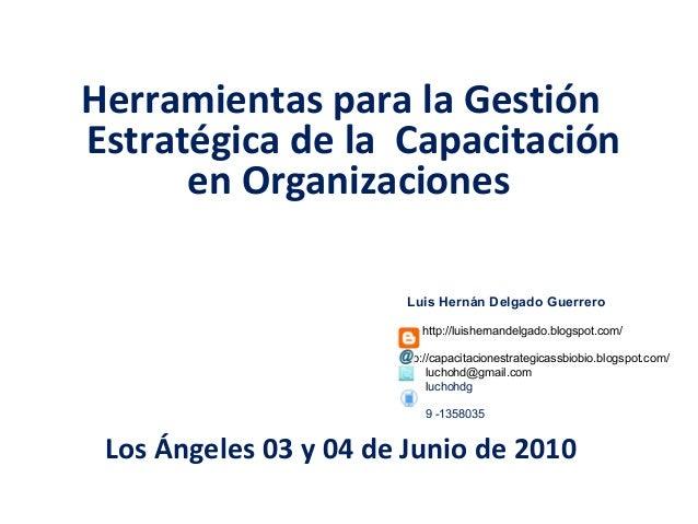 Herramientas para la Gestión Estratégica de la Capacitación en Organizaciones Los Ángeles 03 y 04 de Junio de 2010 Luis He...