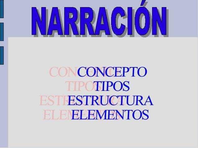 CONCEPTO La narración es una variedad textual en la que se cuenta un hecho real o imaginario, que les sucede a unos person...