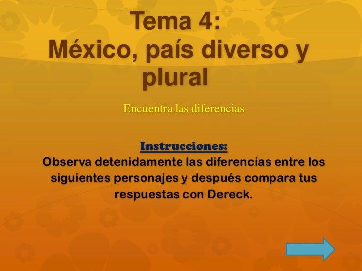 Tema 4: México, país diverso y plural<br />Encuentra las diferencias<br />Instrucciones: Observa detenidamente las diferen...