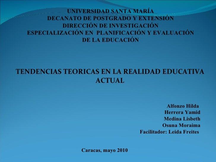 UNIVERSIDAD SANTA MARÍA DECANATO DE POSTGRADO Y EXTENSIÓN DIRECCIÓN DE INVESTIGACIÓN ESPECIALIZACIÓN EN  PLANIFICACIÓN Y E...
