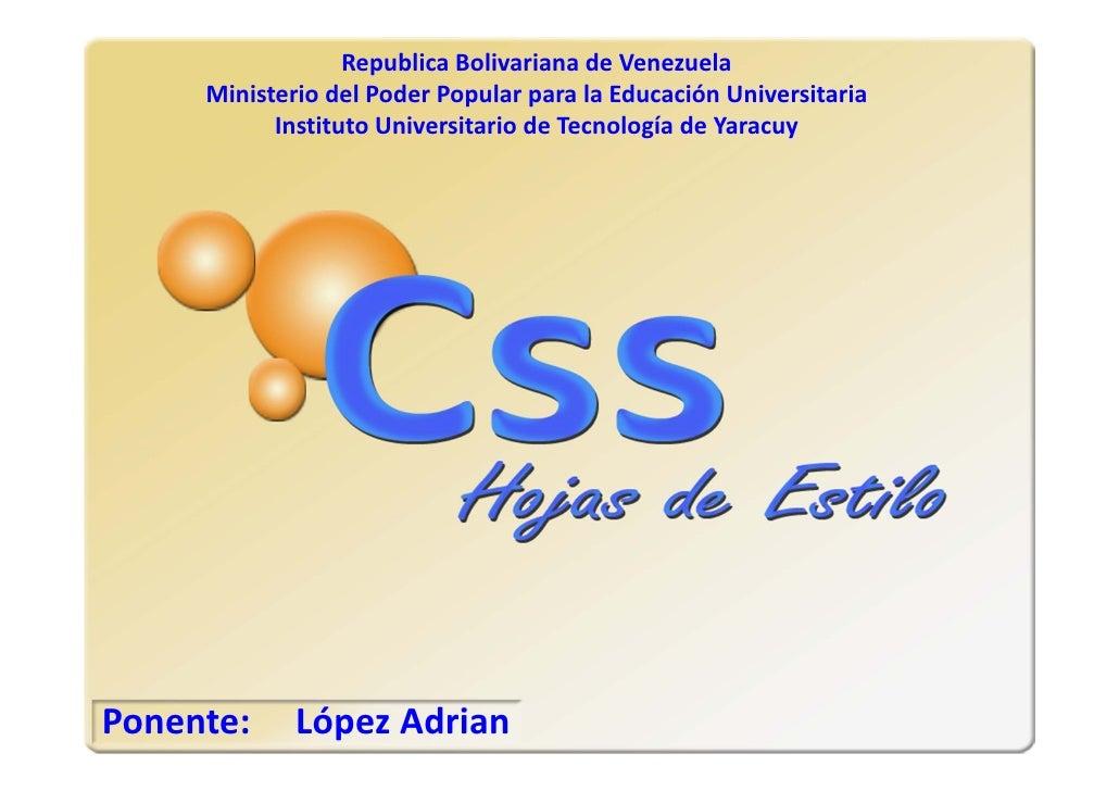 RepublicaBolivarianadeVenezuela      MinisteriodelPoderPopularparalaEducaciónUniversitaria            Instituto...