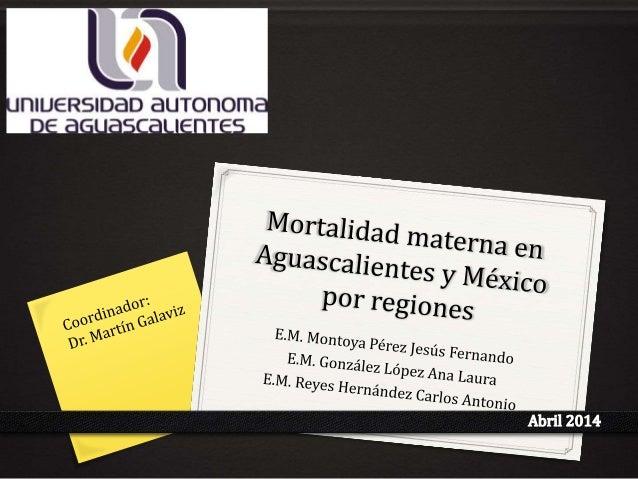 Mortalidad Materna: Definición 0Es la muerte de la mujer durante el embarazo, el parto o los 42 días posteriores al parto,...