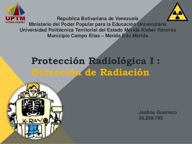 Protección Radiológica I : Detección de Radiación Republica Bolivariana de Venezuela Ministerio del Poder Popular para la ...