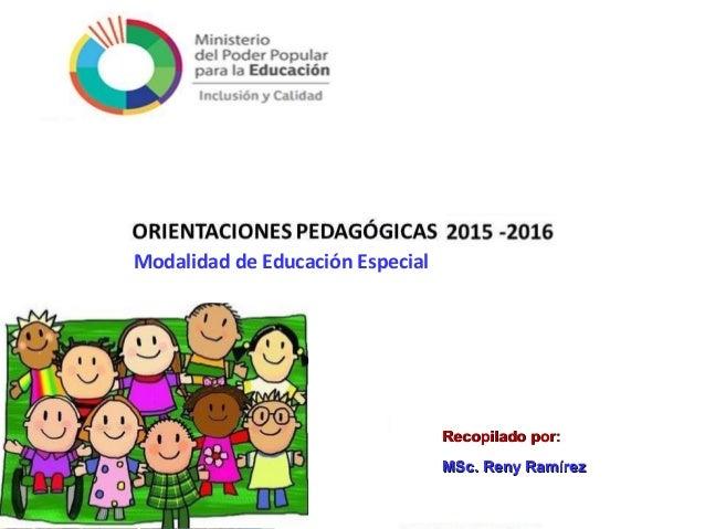 Orientaciones pedag gicas 2015 2016 modalidad de educaci n Convocatoria docentes 2016 ministerio de educacion
