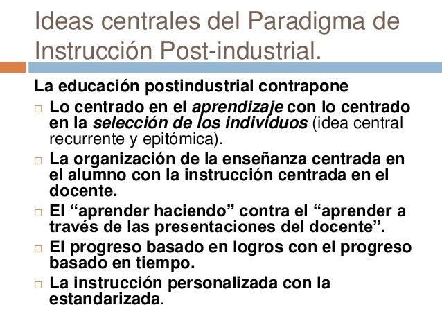 Ideas centrales del Paradigma de Instrucción Post-industrial. La educación postindustrial contrapone  Lo centrado en el a...