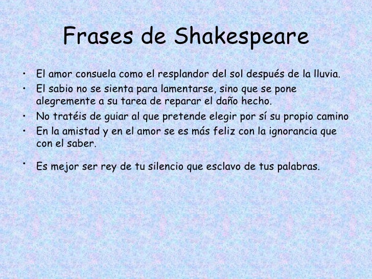 Cuadro comparativo sobre william shakespeare for Frases en latin de amor