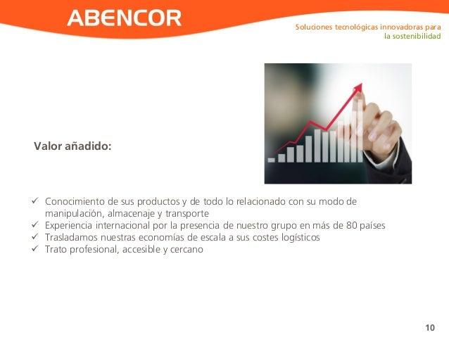 ABENCOR Valor añadido: Soluciones tecnológicas innovadoras para la sostenibilidad 10  Conocimiento de sus productos y de ...