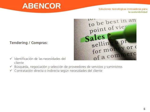 ABENCOR Tendering / Compras: Soluciones tecnológicas innovadoras para la sostenibilidad 6  Identificación de las necesida...