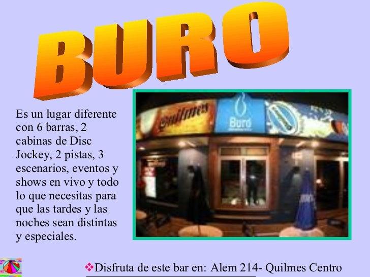 Presentaci n bares y restaurantes for Buro quilmes
