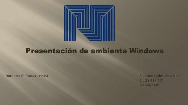 """Alumno: Carlos de la Hoz C.I: 25.487.467 sección:""""4B"""" Docente: Velásquez Jessica Presentación de ambiente Windows"""