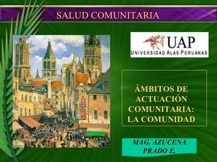 SALUD COMUNITARIA  MAG. AZUCENA PRADO E. ÁMBITOS DE ACTUACIÓN COMUNITARIA: LA COMUNIDAD