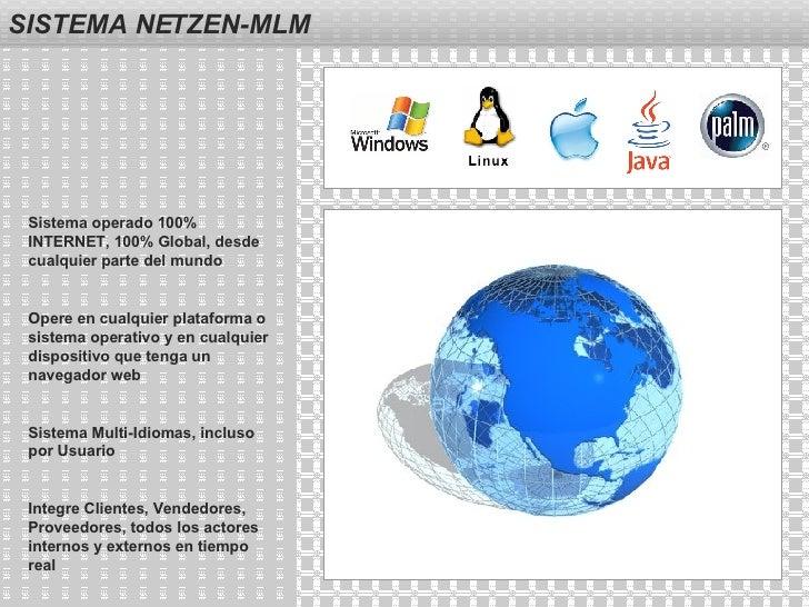 SISTEMA NETZEN-MLM Sistema operado 100% INTERNET, 100% Global, desde cualquier parte del mundo Opere en cualquier platafor...
