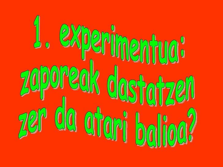 1. experimentua: zaporeak dastatzen zer da atari balioa?