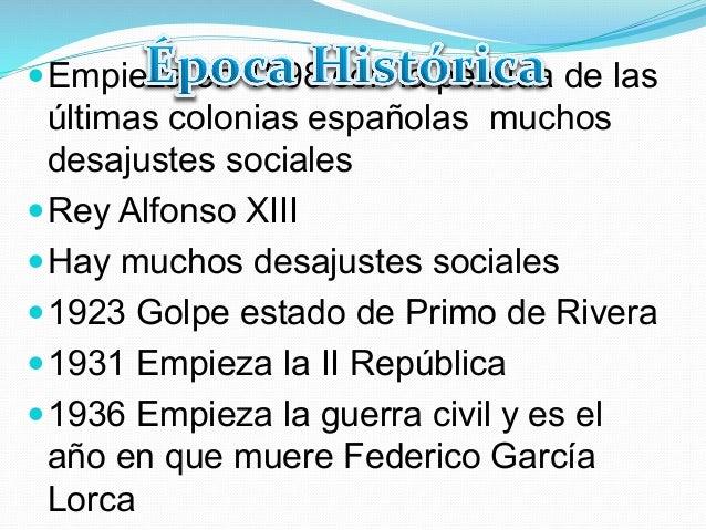 —Empieza en 1898 con la pérdida de lasúltimas colonias españolas muchosdesajustes sociales—Rey Alfonso XIII—Hay much...