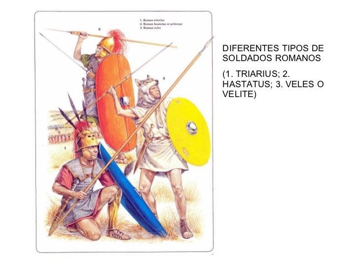 DIFERENTES TIPOS DE SOLDADOS ROMANOS (1. TRIARIUS; 2. HASTATUS; 3. VELES O VELITE)