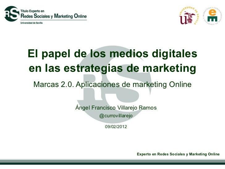 El papel de los medios digitales en las estrategias de marketing  Marcas 2.0. Aplicaciones de marketing Online Ángel Franc...