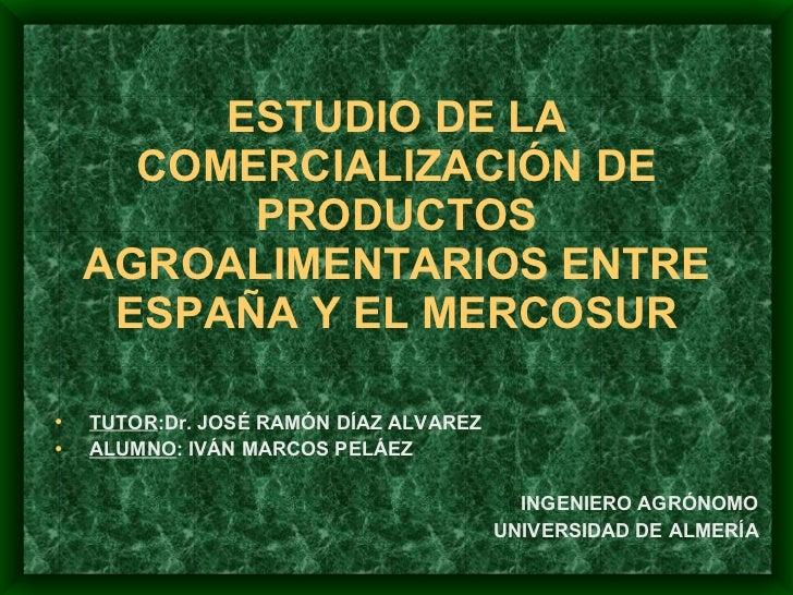 ESTUDIO DE LA COMERCIALIZACIÓN DE PRODUCTOS AGROALIMENTARIOS ENTRE ESPAÑA Y EL MERCOSUR <ul><li>TUTOR :Dr. JOSÉ RAMÓN DÍAZ...