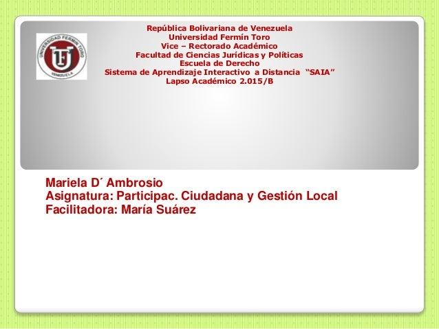 República Bolivariana de Venezuela Universidad Fermín Toro Vice – Rectorado Académico Facultad de Ciencias Jurídicas y Pol...