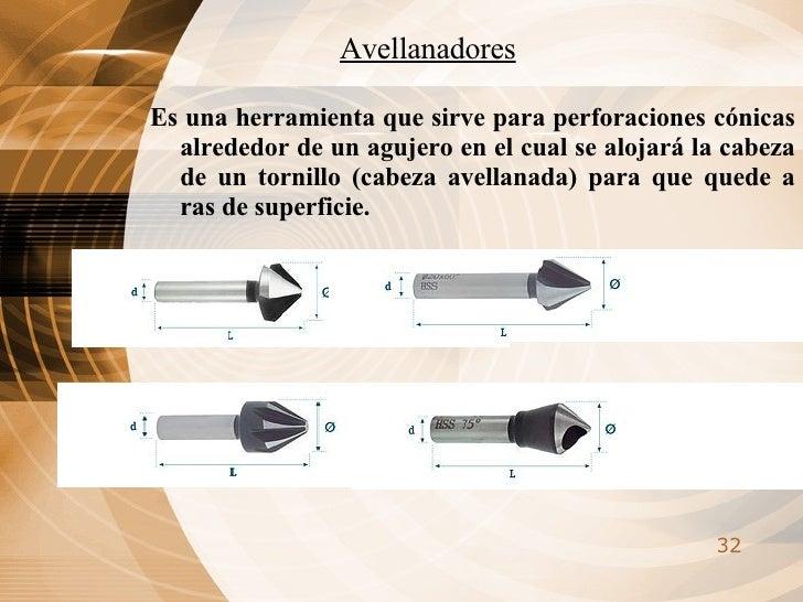 Avellanadores <ul><li>Es una herramienta que sirve para perforaciones cónicas alrededor de un agujero en el cual se alojar...