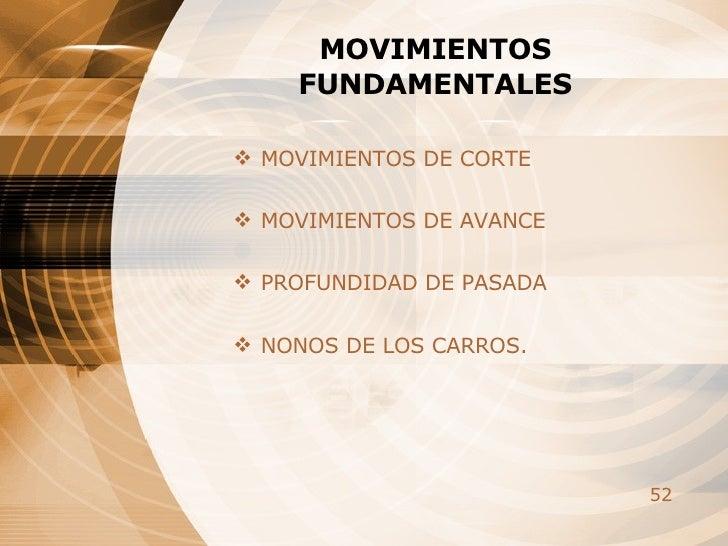 MOVIMIENTOS FUNDAMENTALES <ul><li>MOVIMIENTOS DE CORTE </li></ul><ul><li>MOVIMIENTOS DE AVANCE </li></ul><ul><li>PROFUNDID...