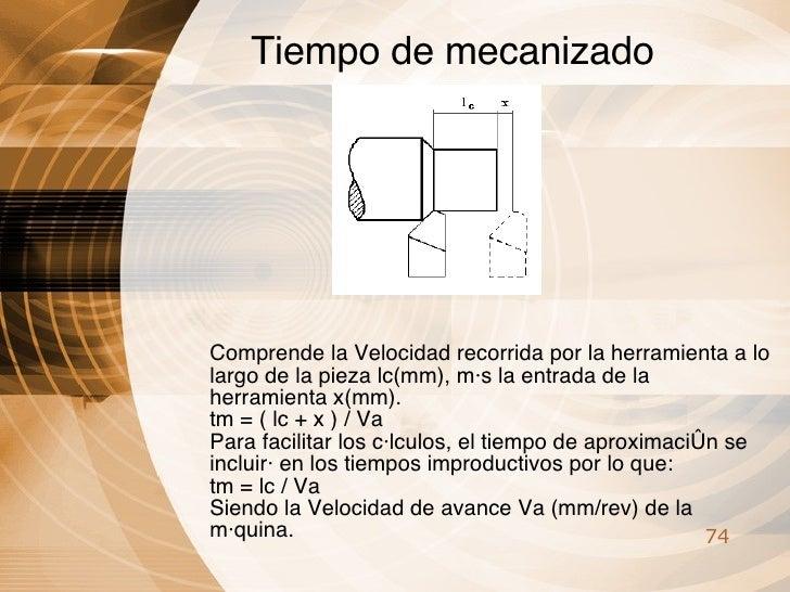 Tiempo de mecanizado Comprende la Velocidad recorrida por la herramienta a lo largo de la pieza lc(mm), más la entrada de ...