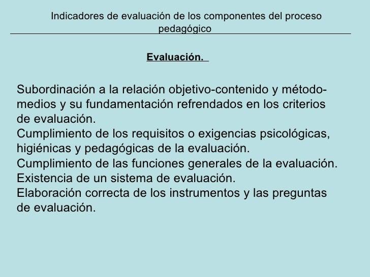 Indicadores de evaluación de los componentes del proceso pedagógico Evaluación.   Subordinación a la relación objetivo-con...