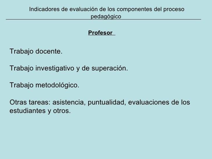 Indicadores de evaluación de los componentes del proceso pedagógico Profesor   Trabajo docente. Trabajo investigativo y de...