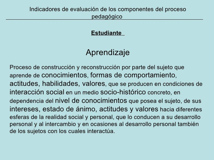 Indicadores de evaluación de los componentes del proceso pedagógico Estudiante   Aprendizaje Proceso de construcción y rec...