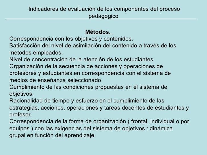 Indicadores de evaluación de los componentes del proceso pedagógico Métodos.   Correspondencia con los objetivos y conteni...