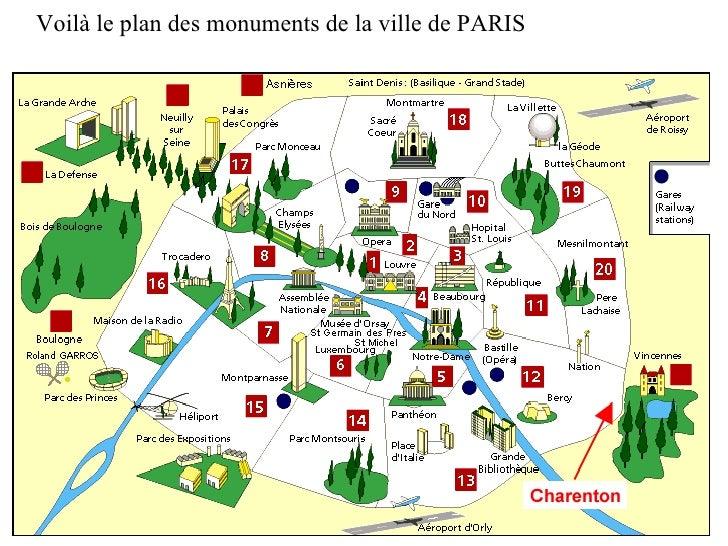 Voilà le plan des monuments de la ville de PARIS