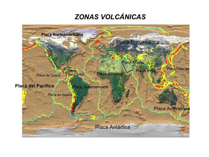 ZONAS VOLCÁNICAS   Placa Norteamericana Placa de Cocos Placa del Pacífico Placa de Nazca Placa del Caribe Placa Suramerica...