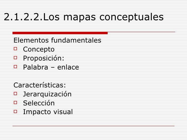 2.1.2.2.Los mapas conceptuales  <ul><li>Elementos fundamentales </li></ul><ul><li>Concepto </li></ul><ul><li>Proposición: ...