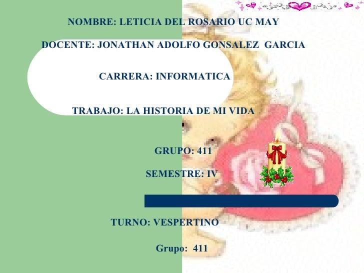 NOMBRE: LETICIA DEL ROSARIO UC MAY   DOCENTE: JONATHAN ADOLFO GONSALEZ  GARCIA CARRERA: INFORMATICA TRABAJO: LA HISTORIA D...