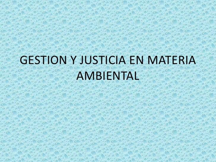 GESTION Y JUSTICIA EN MATERIA AMBIENTAL<br />