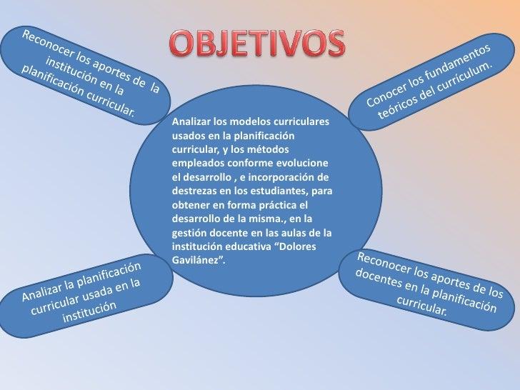 OBJETIVOS<br />Reconocer los aportes de  la institución en la planificación curricular.<br />Conocer los fundamentos teóri...