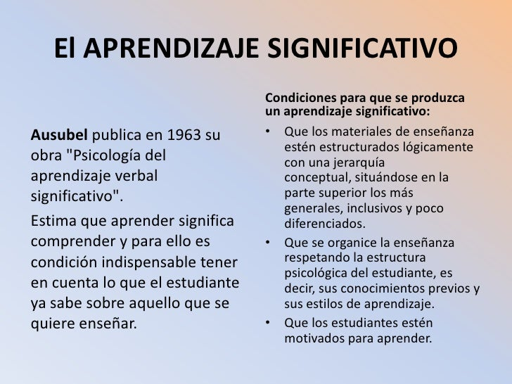 El APRENDIZAJE SIGNIFICATIVO <br />Ausubel publica en 1963 su obra &quot;Psicología del aprendizaje verbal significativo&q...