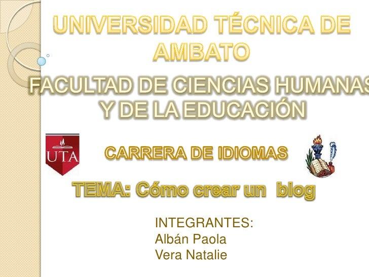UNIVERSIDAD TÉCNICA DE AMBATO<br />FACULTAD DE CIENCIAS HUMANAS<br />Y DE LA EDUCACIÓN<br />CARRERA DE IDIOMAS<br />TEMA: ...