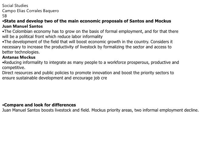 Social Studies<br />Campo Elias Corrales Baquero<br />5B<br /><ul><li>Stateand develop two of the main economic proposals ...