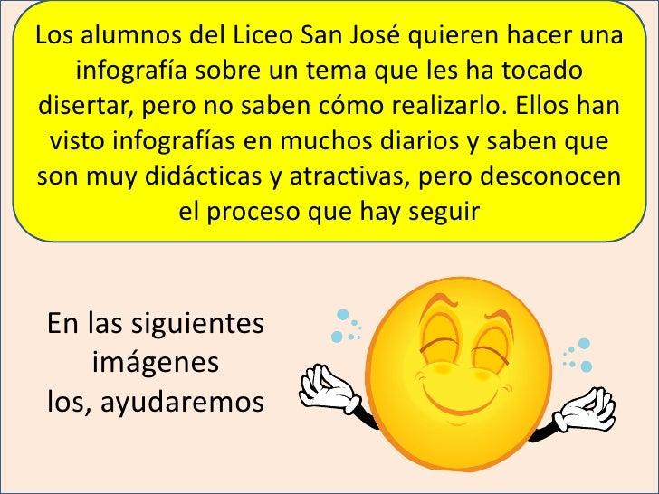 Los alumnos del Liceo San José quieren hacer una infografía sobre un tema que les ha tocado disertar, pero no saben cómo r...