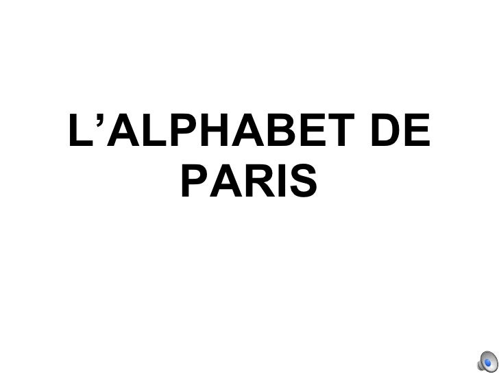 L'ALPHABET DE PARIS