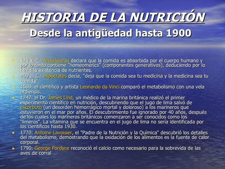 HISTORIA DE LA NUTRICIÓN Desde la antigüedad hasta 1900   <ul><li>475a.C.: Anaxágoras declara que la comida es absorbi...