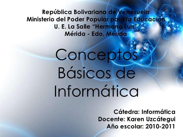 """República Bolivariana de Venezuela<br />Ministerio del Poder Popular para la Educación<br />U. E. La Salle """"Hermano Luis""""<..."""