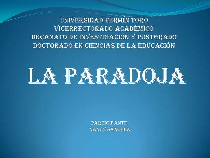 Universidad Fermín Toro<br />Vicerrectorado Académico<br />Decanato De Investigación y Postgrado<br />Doctorado En Ciencia...