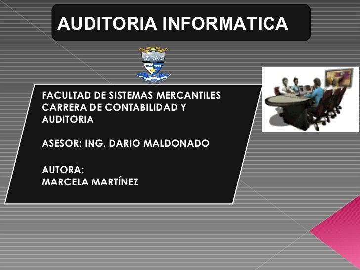 AUDITORIA INFORMATICA<br />SALUDOS<br />