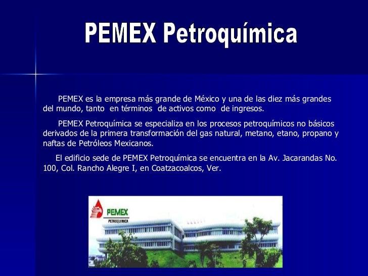 PEMEX Petroquímica PEMEX es la empresa más grande de México y una de las diez más grandes del mundo, tanto  en términos  d...