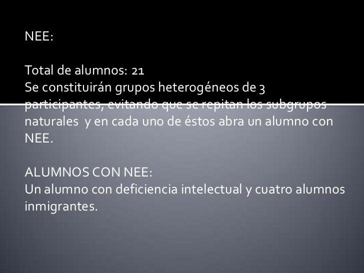 NEE:Total de alumnos: 21Se constituirán grupos heterogéneos de 3participantes, evitando que se repitan los subgruposnatura...