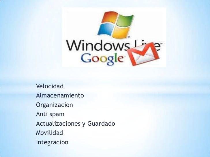 Velocidad<br />Almacenamiento <br />Organizacion <br />Anti spam <br />Actualizaciones y Guardado  <br />Movilidad <br />I...