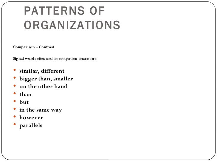 organizational pattern of essays Text structure is how information is organized in writing text structures, or patterns of organization, not only vary from writing to writing, but text structures may also change frequently.