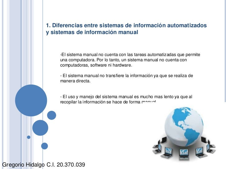 1. Diferencias entre sistemas de información automatizados y sistemas de información manual<br /><ul><li>El sistema manual...